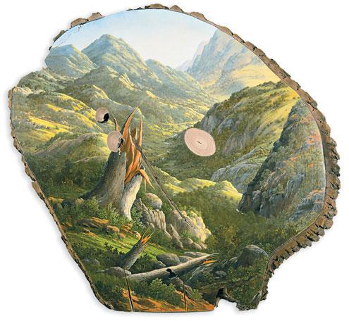 oil paintings on fallen logs by Alison Moritsugu (1)