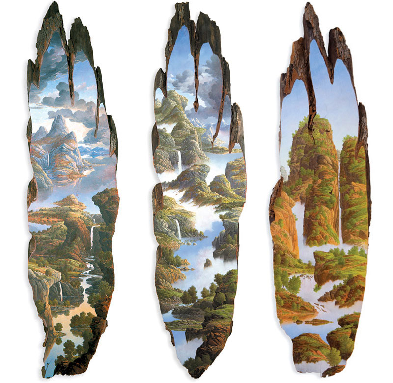 oil paintings on fallen logs by Alison Moritsugu (12)