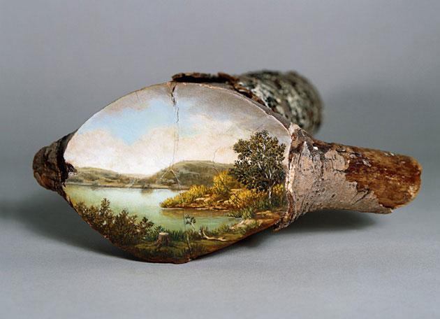 oil paintings on fallen logs by Alison Moritsugu (4)