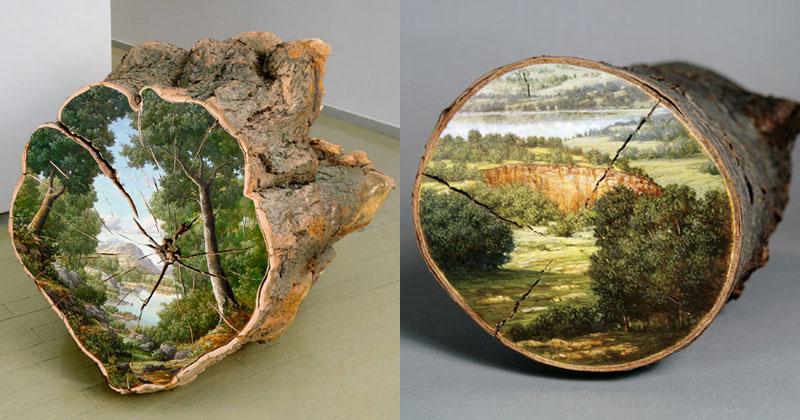 Alison Moritsugu Paints Idyllic Landscapes on FallenLogs