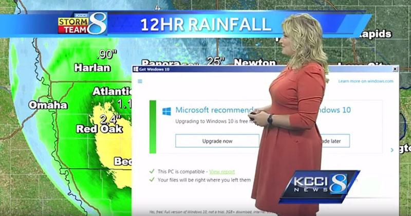 The Windows 10 Update Pop-Up is Now Interrupting Weather Reports