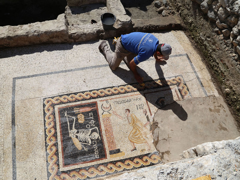 """2200-Year-Old Mosaic that Says """"Be Cheerful, Live Your Life"""" Found in Turkey"""