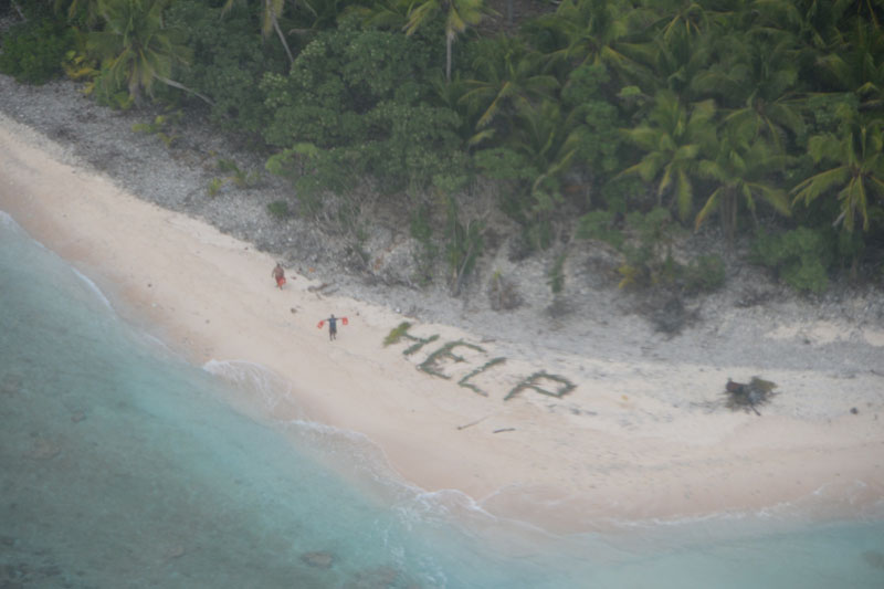 Aircraft Spots HELP Sign on Beach, Rescues 3 Men Stranded on Remote Island