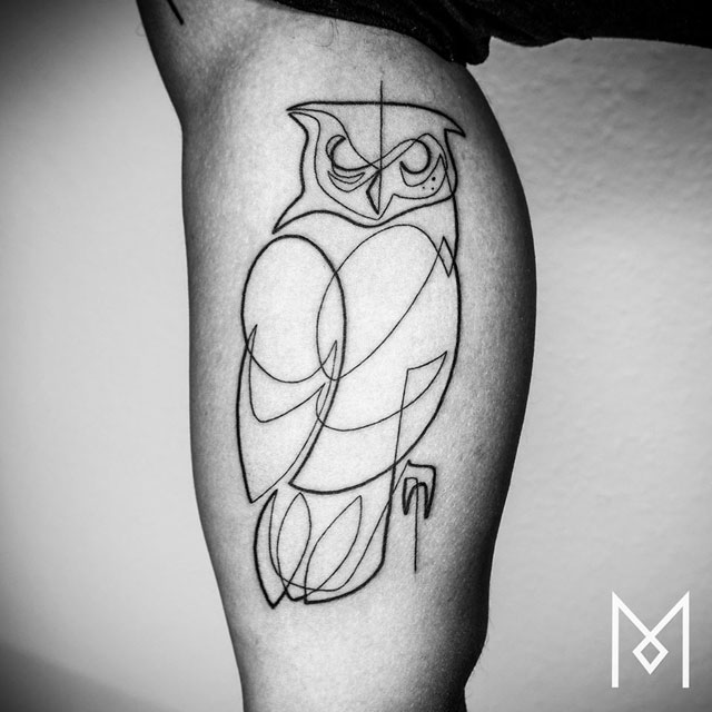 Owl Line Drawing Tattoo : One line tattoos by mo ganji photos «twistedsifter