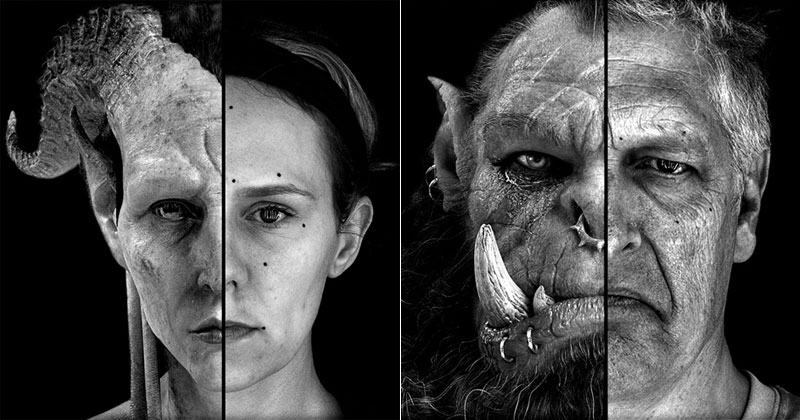 Split Face Portraits of Warcraft Actors and Their CGICounterpart