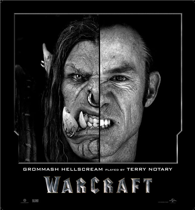 Split Face Portraits of Warcraft Actors and Their CGI Counterpart (3)