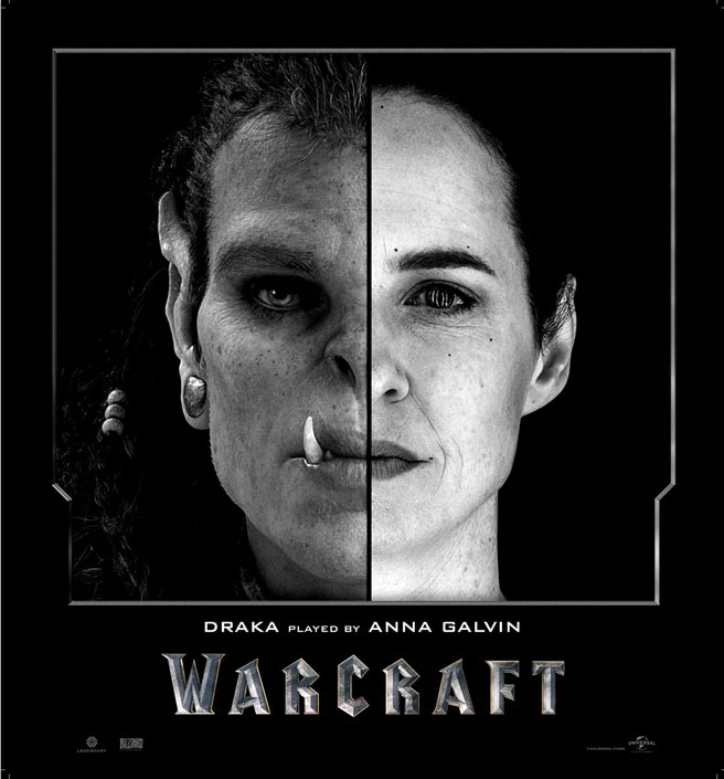 Split Face Portraits of Warcraft Actors and Their CGI Counterpart (4)
