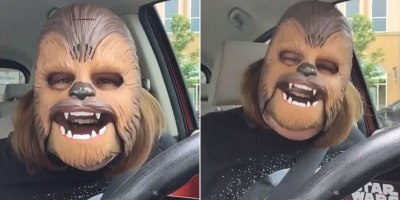 I Want to Be as Happy as This Woman in a ChewbaccaMask