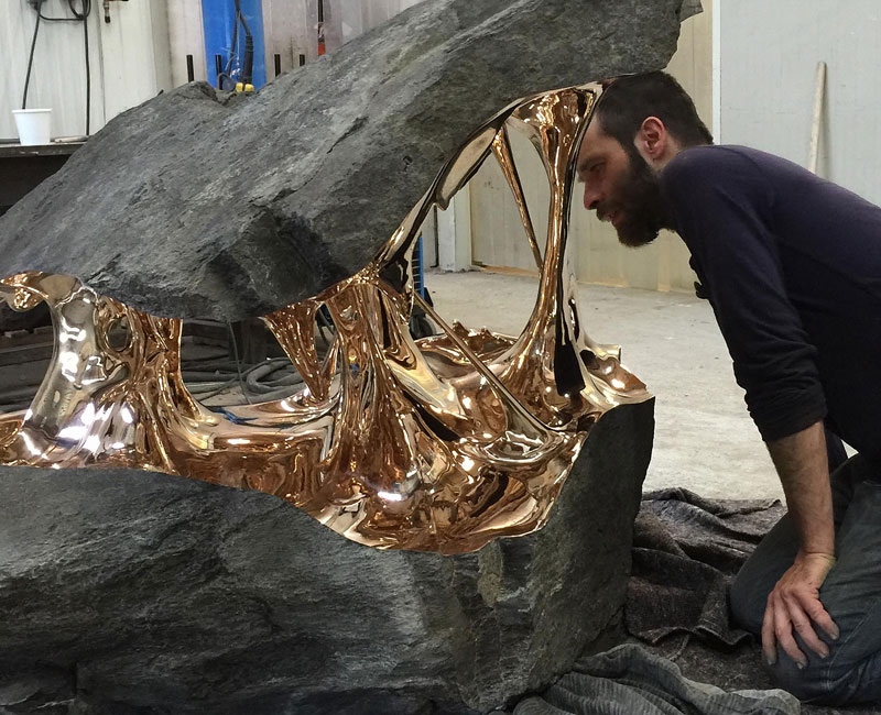 Artist Uses Bronze to Pull Boulders Apart (9Photos)