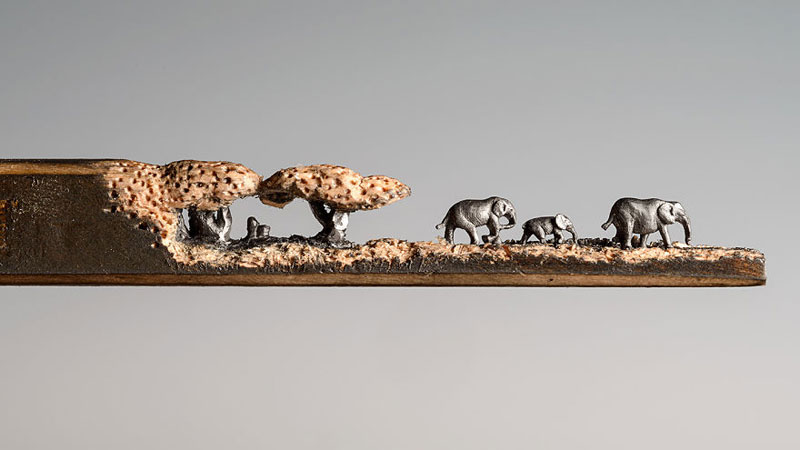 Cindy Chinn Carves Family of Elephants Into a Pencil