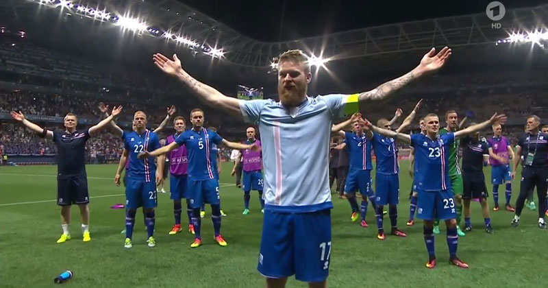 Iceland's Viking Chant with Fans After Beating England is Awesome