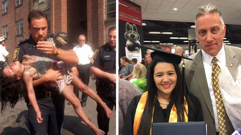 Officer Attends Student's Graduation, Whose Life He Saved When She Was Five