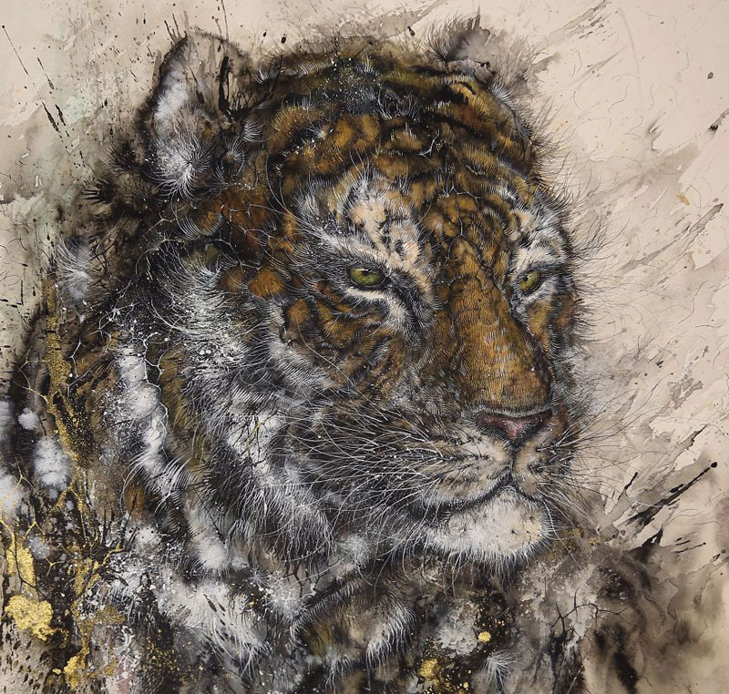 Splattered Ink Animal Paintings by Hua Tunan (15 Photos)
