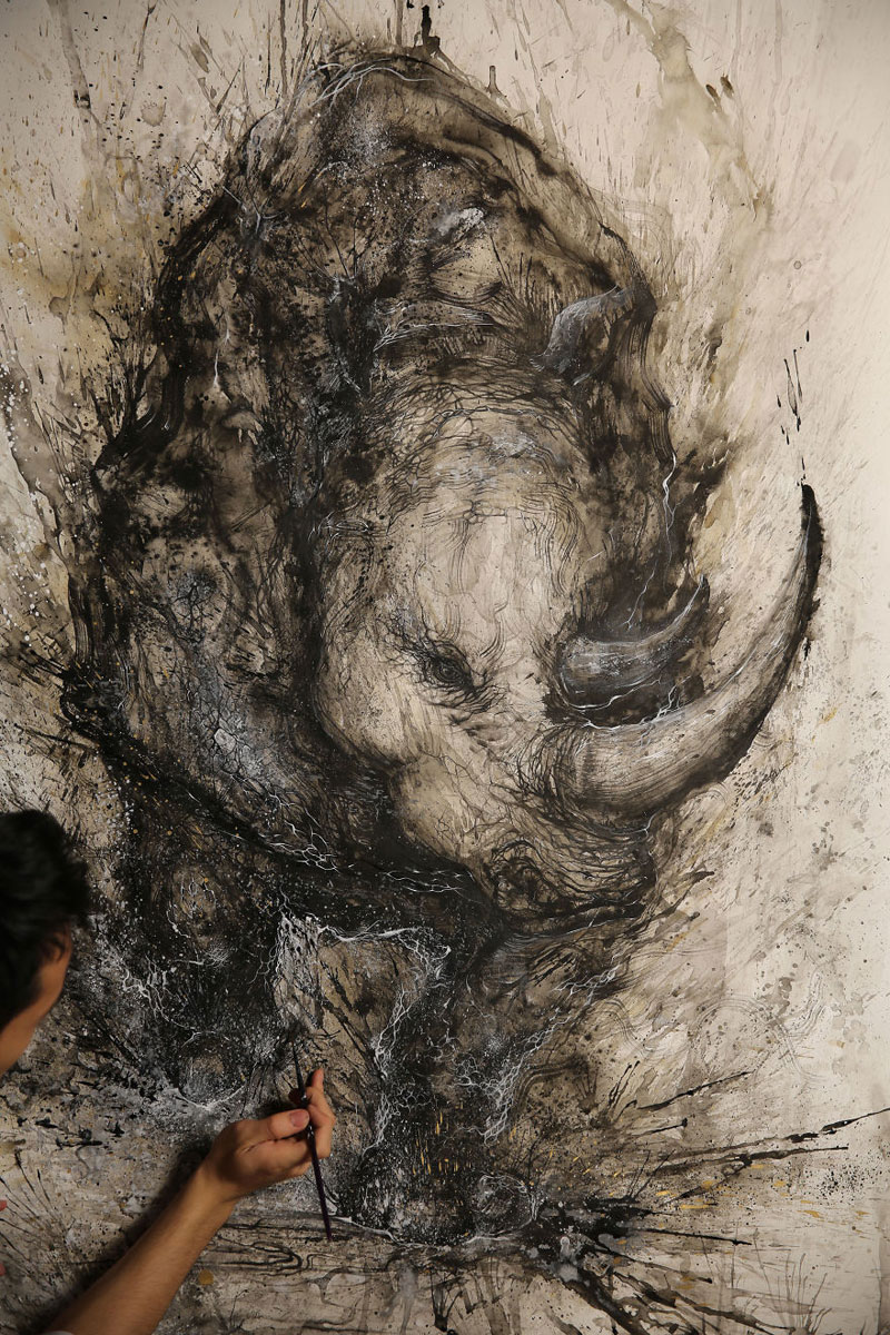 splattered ink animal paintings by chen yingjie aka hua tunan (9)