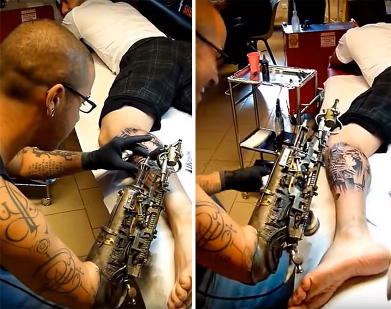 Artist turns prosthetic arm into badass tattoo machine for Gifts for tattoo artist