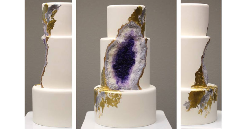 Amethyst Geode Wedding Cake by Intricate Icings
