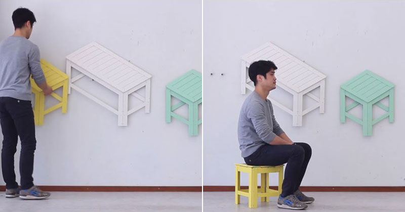 Collapsible Furniture Hangs on Your Wall When Not In Use