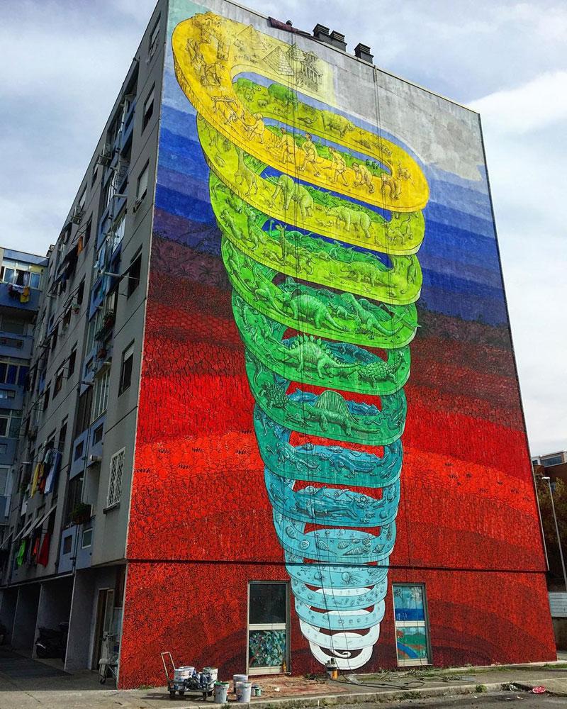 7 story mural by blu rome italy casa dei pazzi spiral (5)