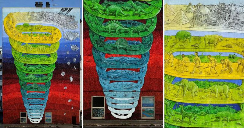 7-Story Mural in Rome Looks Like It's SpirallingOutwards