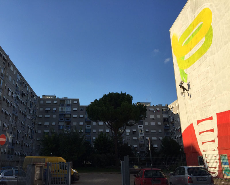 7 story mural by blu rome italy casa dei pazzi spiral (8)