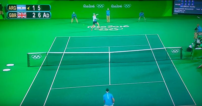 green screen tennis 2016 olympics rio The Olympic Tennis Finals Were Played on a Giant Green Court, the Internet Knew What To Do