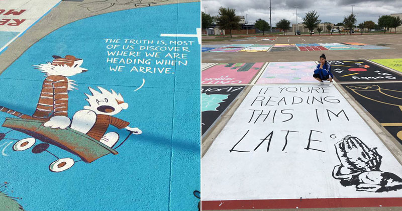 These High Schools Let Their Seniors Paint Their Parking Spots Each Year (24 Photos)