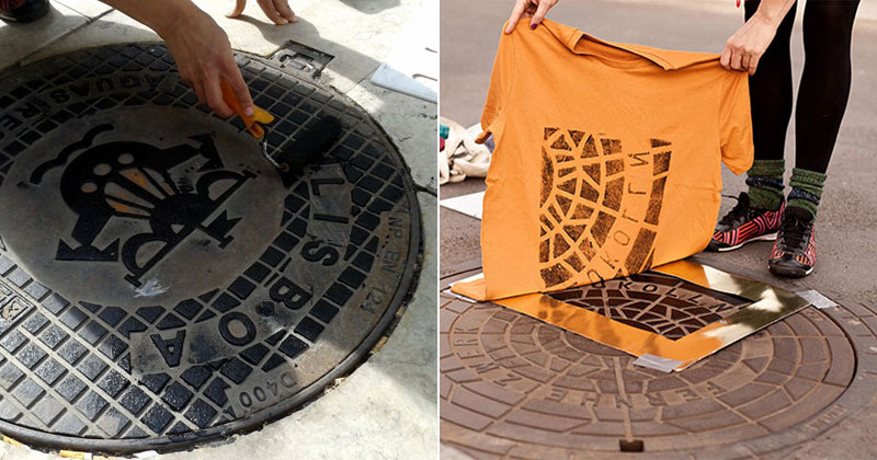 These Artists are Guerrilla Printing Manhole Covers Onto Shirts and Bags