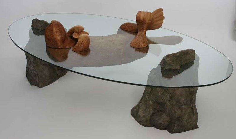 Amazing Coffee Tables Where The Glass Is Water And The Base Is An - Hippo coffee table