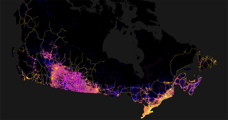 Canada Mapped by Trails, Roads, Streets andHighways