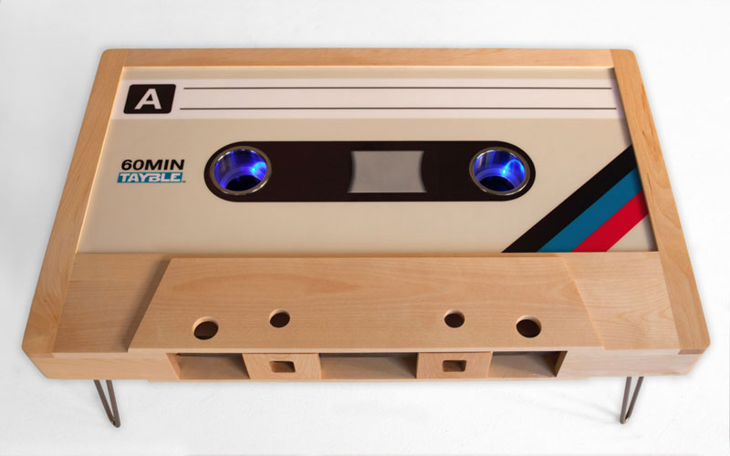 cassette tape coffee tables by taybles 214 graffiti 12 These Retro Cassette Tape Coffee Tables are Awesome