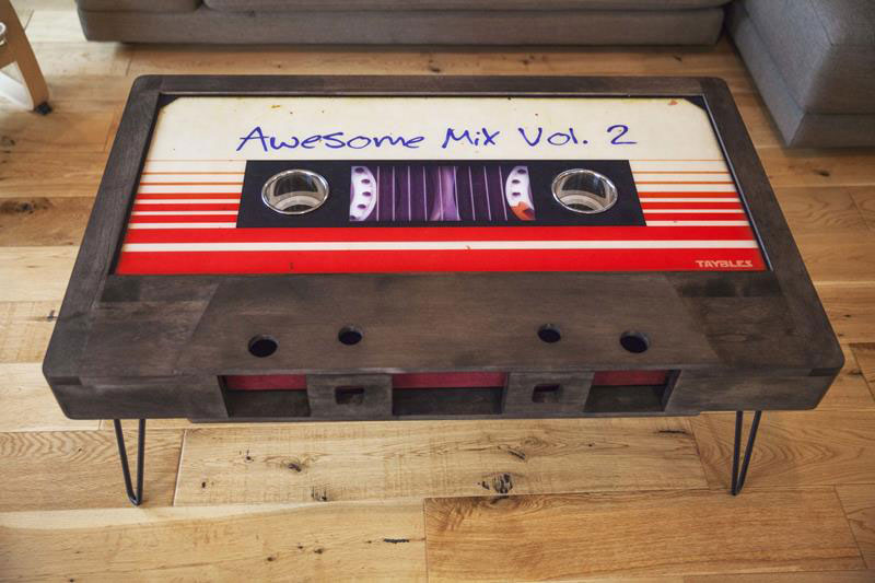Amazing cassette tape coffee tables by taybles graffiti These Retro Cassette Tape Coffee Tables are