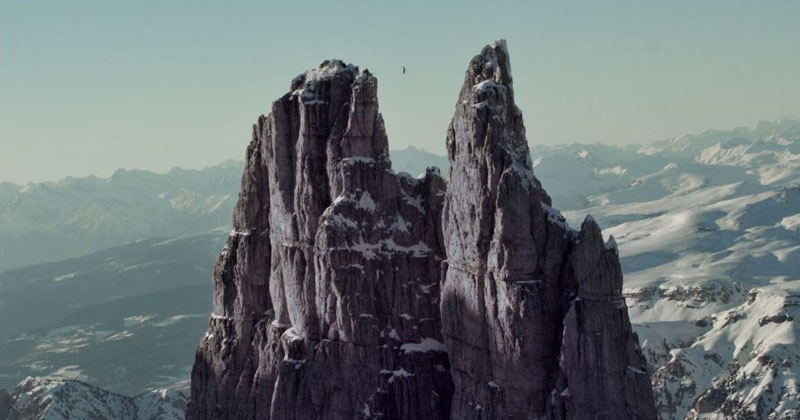 Hayley Ashburn Highlines Italy's 2800m Vajolet Towers in the Winter