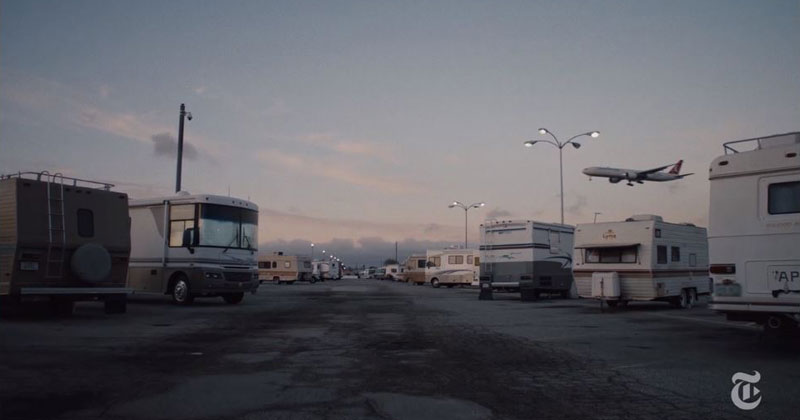 An Airport Parking Lot in LA has Become an Improvised Village of AirlineWorkers