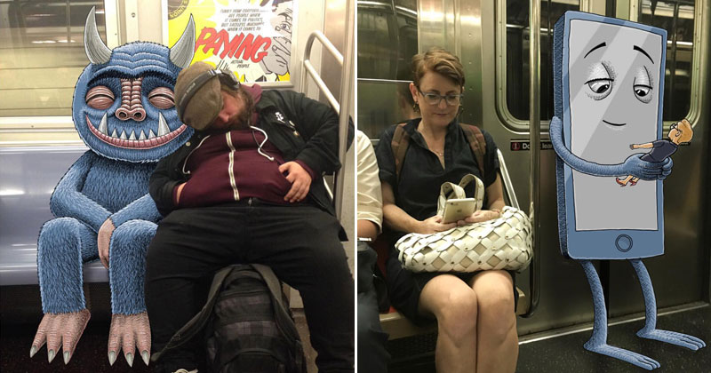 This Guy Doodles on His iPad During His Daily Commute on the NYCSubway