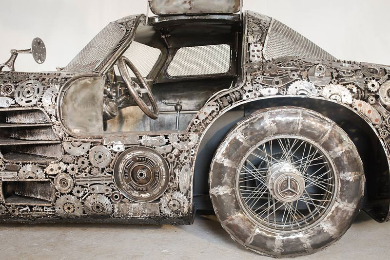 scrap metal supercars gallery of steel figures pruszkow poland 2 Scrap Metal Supercars (12 Photos)