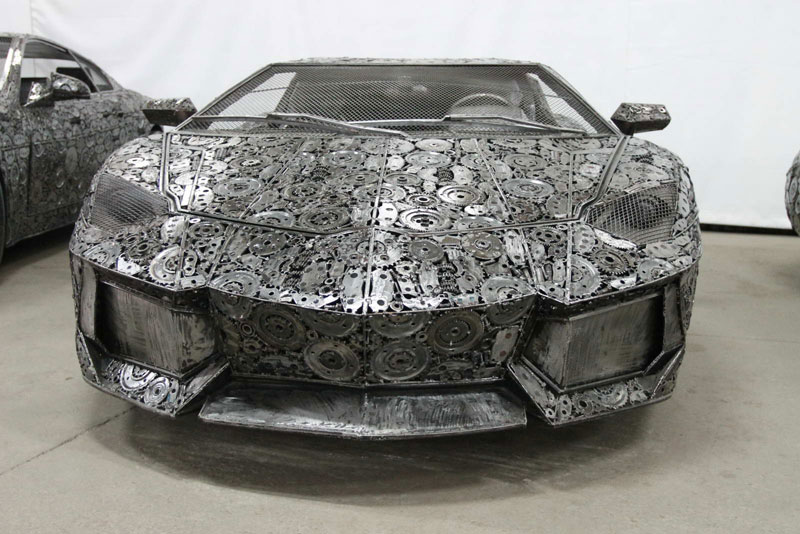 scrap metal supercars gallery of steel figures pruszkow poland 6 Scrap Metal Supercars (12 Photos)
