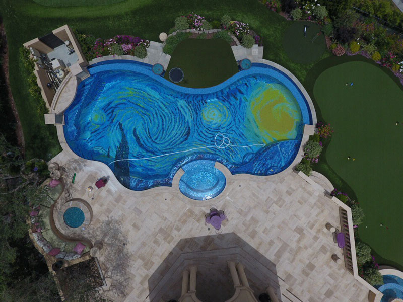 starry night pool overhead drone tiled Picture of the Day: Amazing Starry Night Pool Tile From Above