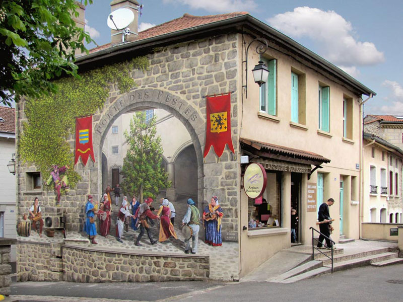 3d trompe loeil paintings by patrick commecy a fresco 1 Patrick Commecy Transforms Building Facades Into 3D Works of Art