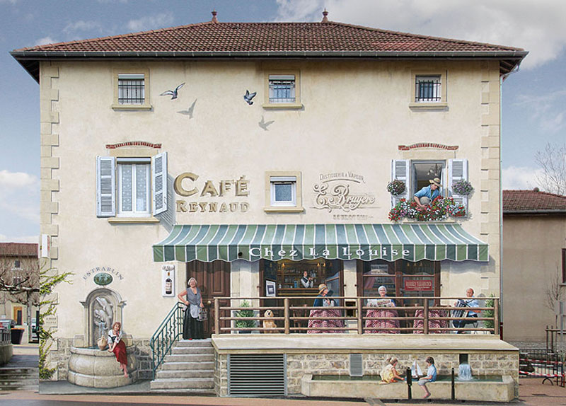 3d trompe loeil paintings by patrick commecy a fresco 10 Patrick Commecy Transforms Building Facades Into 3D Works of Art