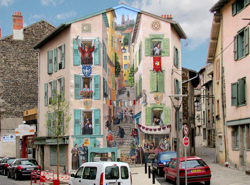3d trompe loeil paintings by patrick commecy a fresco 3 Patrick Commecy Transforms Building Facades Into 3D Works of Art