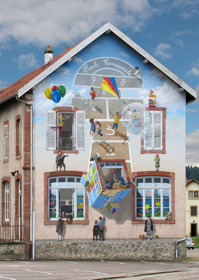 3d trompe loeil paintings by patrick commecy a fresco 6 Patrick Commecy Transforms Building Facades Into 3D Works of Art