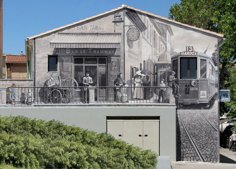 3d trompe loeil paintings by patrick commecy a fresco 7 Patrick Commecy Transforms Building Facades Into 3D Works of Art