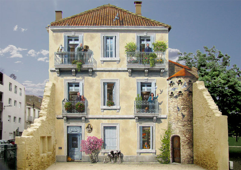 3d trompe loeil paintings by patrick commecy a fresco 8 Patrick Commecy Transforms Building Facades Into 3D Works of Art
