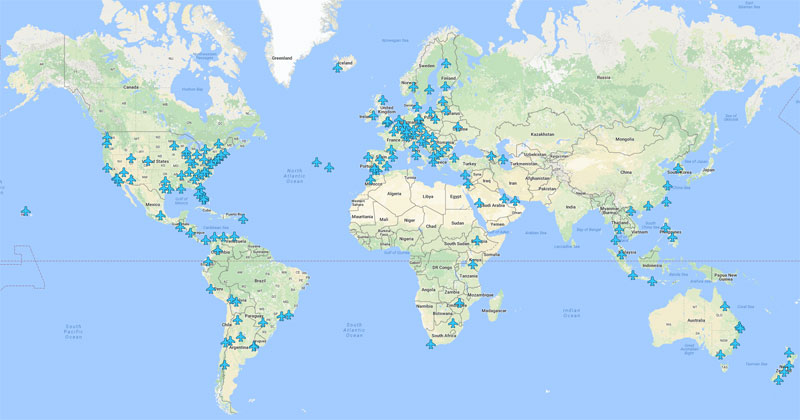 Interactive Map For Airport WiFi Passwords Around The World - Interactive map of world