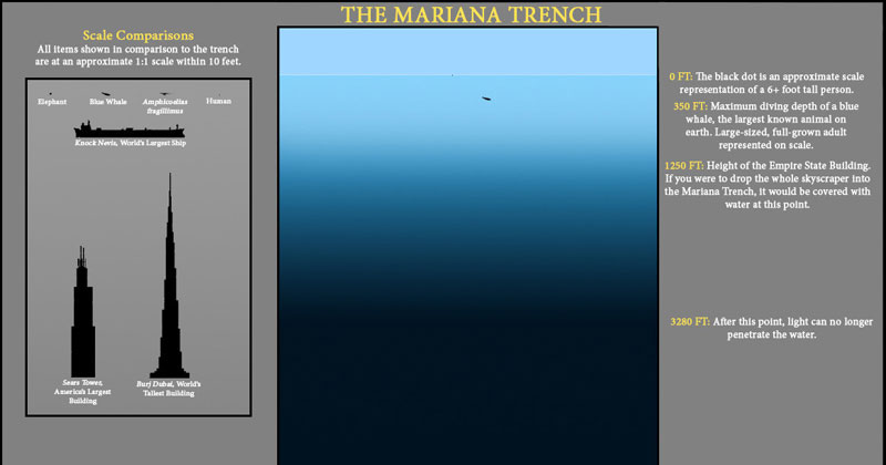 The Depths of the Ocean to Scale (at least what we know ofit)