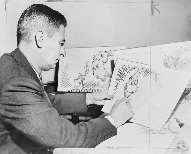 dr seuss working on the main character for his new book 1957 Dr. Seuss Working on the Main Character for his New Book (1957)