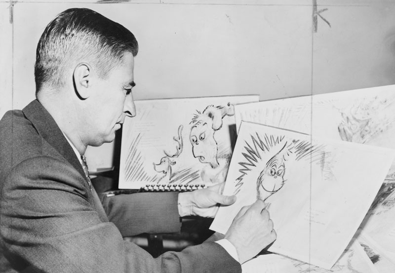 Dr. Seuss Working on the Main Character for his New Book (1957)