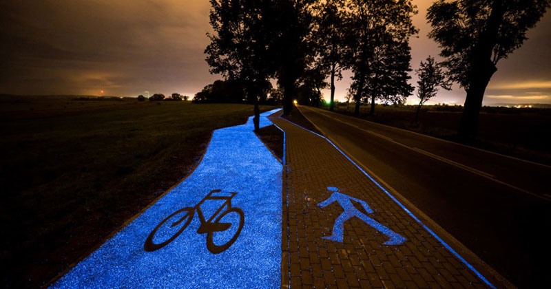 Solar-Powered, Glow in the Dark Bike Lanes are Being Tested inPoland