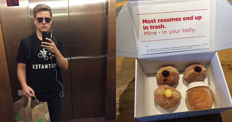 Guy Pretends to be a Food Courier and Hand Delivers His Resume