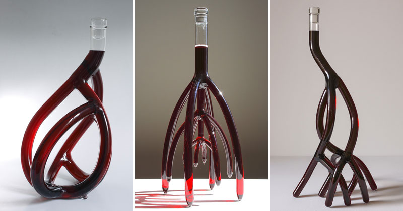 Etienne Meneau's Hand-Blown Glass Wine Decanters Look Like Tree Roots